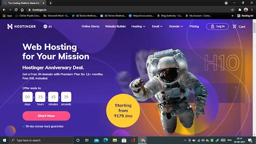 hostinger.in website page